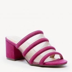 Sole Society Henna Strappy Pink Suede Mule 8.5 NWT